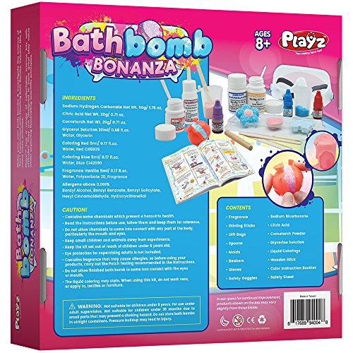 Playz Bath Bomb Bonanza Science Activity, Craft, & Experiment Kit - 23+ Tools to Make Magic Soda, Foaming Eruptions, Floating Bombs & More for Girls, Boys, Teenagers, & Kids Ages 8+ by Playz (Image #1)