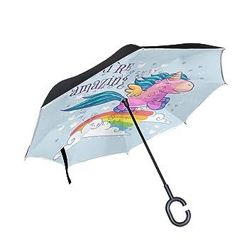 Wamika - Paraguas Reversible de Doble Capa con Forma de C, Impermeable, Resistente al