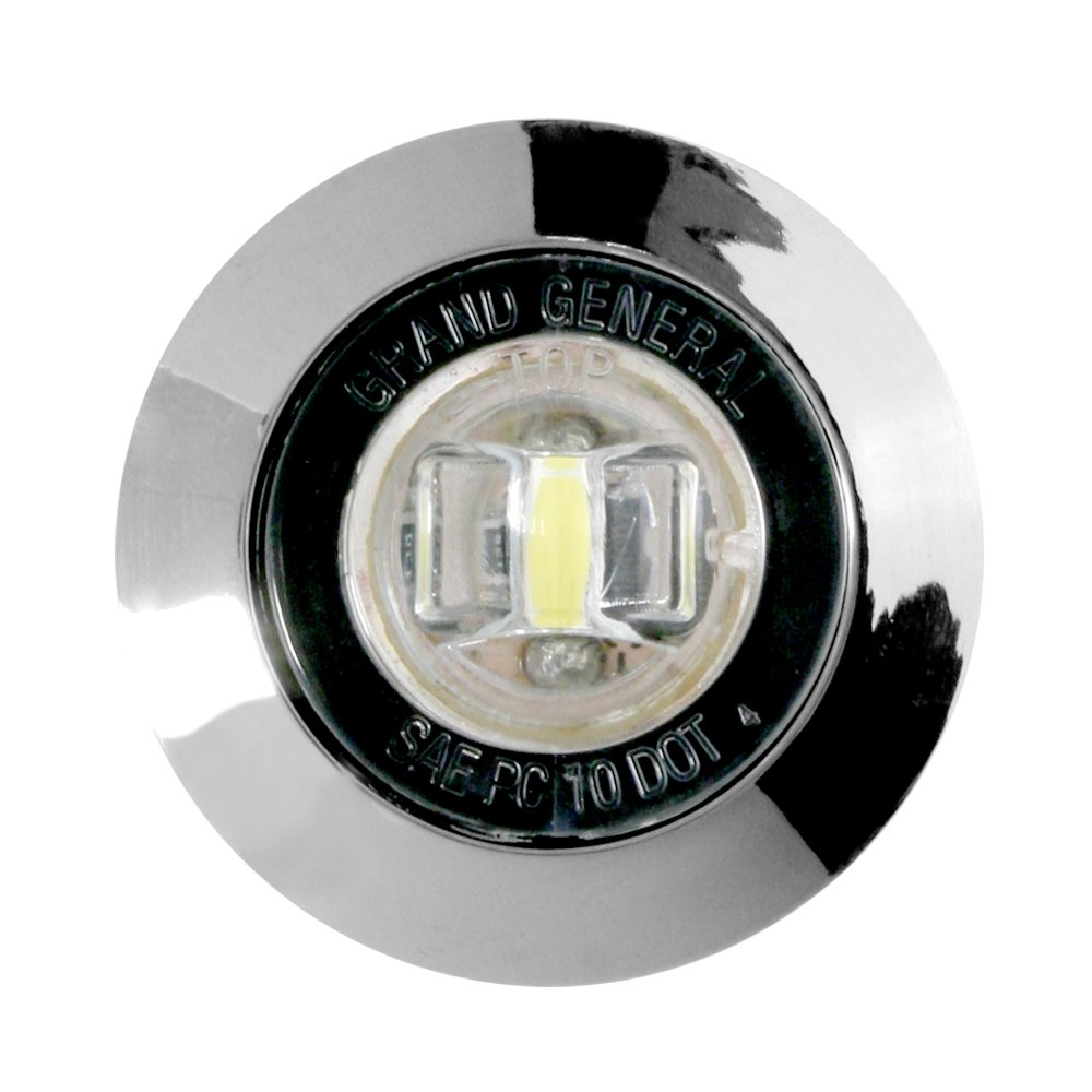 Grand General 87062 Red 1 Mini Wide Angle Single LED Marker Sealed Light with Chrome Plastic Bezel