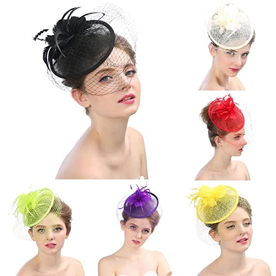 Fashion Wedding Women Fascinator Penny Mesh Hat Ribbons Feathers Headband Caps Bride Headwear for Wedding Cocktail Tea Party White Xshuai/® Women Hat