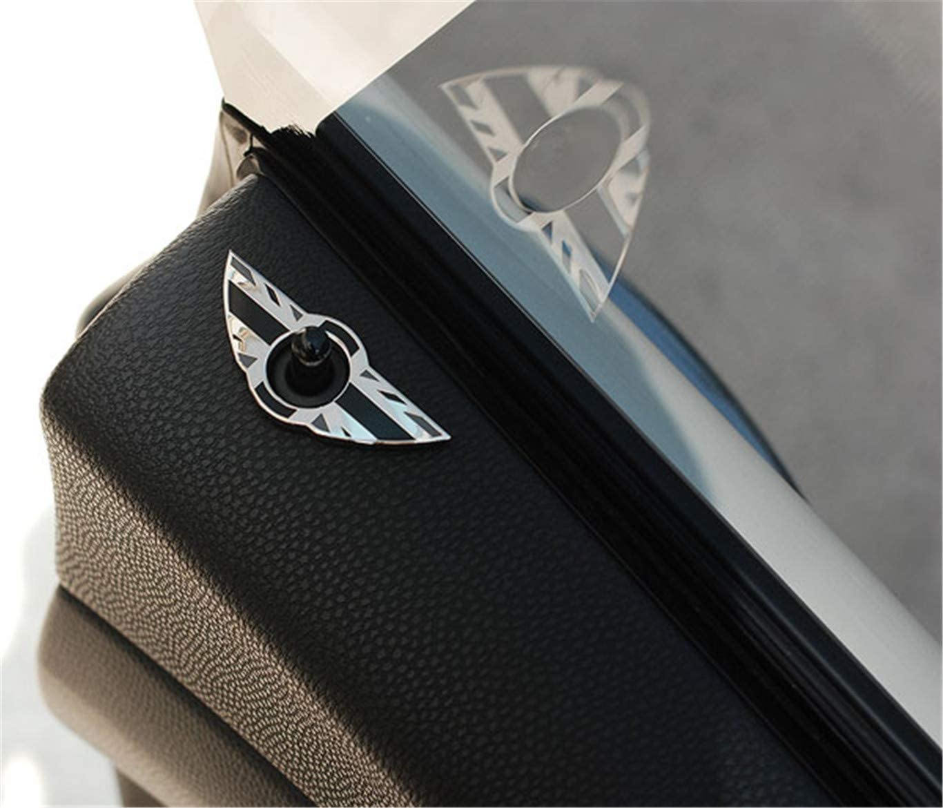 HDX 2 St/ück Fl/ügel Emblem Ringe T/ürschloss Pin Noppen Abdeckungen Aufkleber Abzeichen Blenden f/ür Mini Cooper R56 Schr/ägheck R57 Covertible R58 Coupe R59 Roadster Schwarz