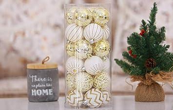 Christbaumkugeln Weiß Gold.Feiliandajj 30pcs Weihnachtskugel Boxed Bruchsicher Weiß Gold Kugel