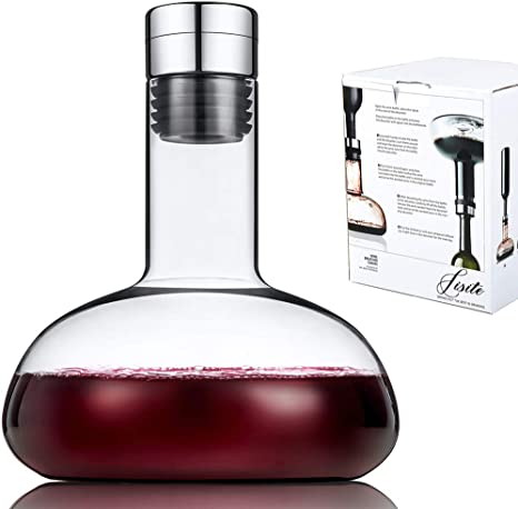 Amazon Com Sj Wine Breather Carafe With Lid 50oz 100 Hand Blown Crystal Glass Decanter Superior Quality Wine Decanter Perfect Gift For Wine Wine Decanters