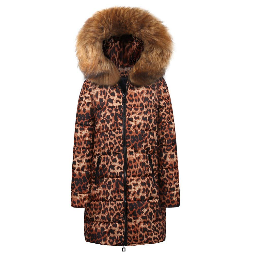CHIDY Womens Down Jacket Leopard Print Winter Hooded Coat Pockets Zipper Long Outwear with Faux Fur Hood(Medium,Brown) by CHIDY