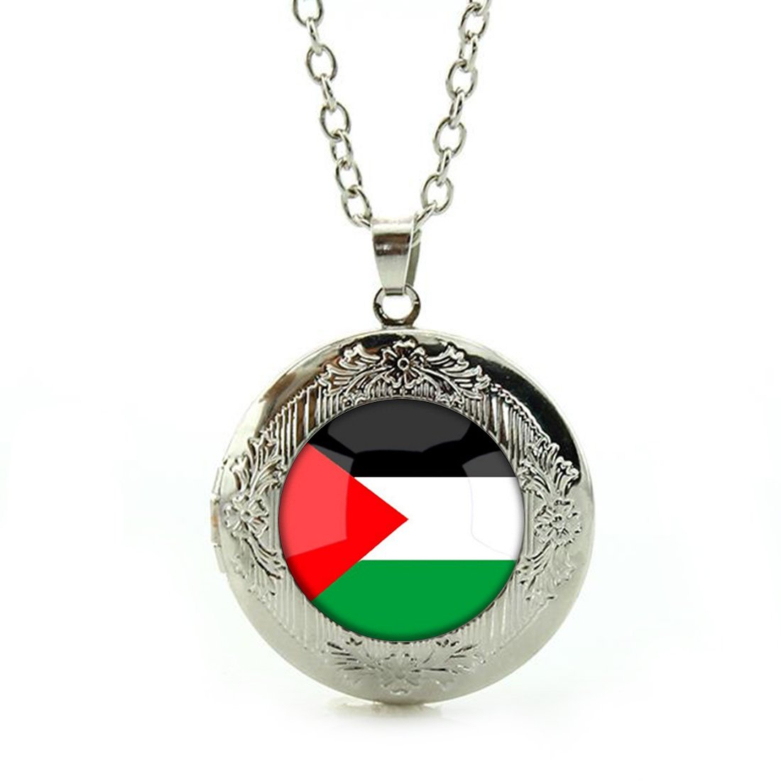 Silver Pendant The Hashemite Kingdom of Jordan National Flag Custom Design Alloy Chain Necklace