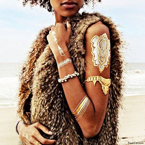 WILD CHILD BUNDLE from Flash Tattoos includes the Child of Wild pack (4-sheets) and Desert Dweller pack (4-sheets) over 70 premium festival inspired waterproof metallic temporary jewelry tattoos by Flash Tattoos (Image #7)