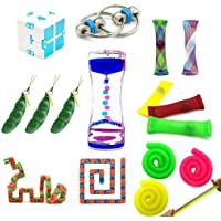 Zhengshion 16 Pack Fidget Toys Bundle-Fidget Chain/Infinity Magic Cube/Liquid Motion Timer/Squeeze Bean Toys/Wacky Tracks Snap Sensory Toys for ADD ADHD Anxiety Autism