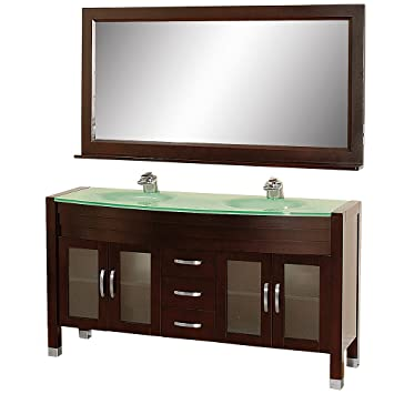 Wyndham Collection Daytona 63 Inch Double Bathroom Vanity In Espresso With  Green Glass Top With Green