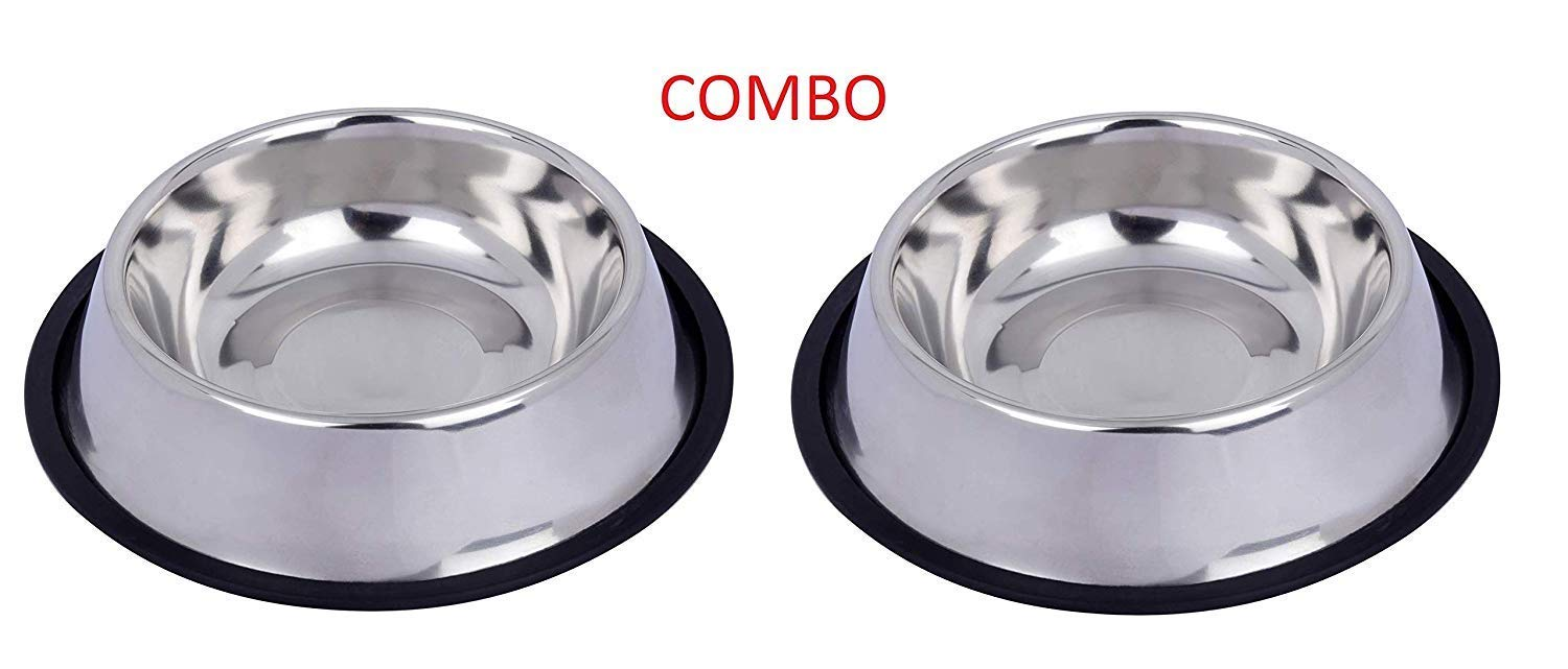 Naaz Pet Anti Skid Stainless Steel Bowl for Feeding Small Dogs Cats and Kittens (Silver, 200 ml X 2) - Set of 2 product image