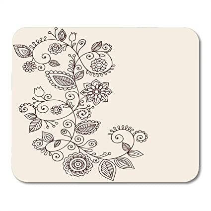Amazon Com Boszina Mouse Pads Border Floral Abstract Henna Mehndi