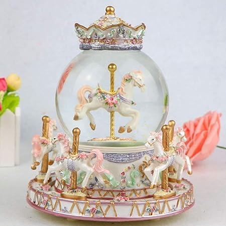 Arbre Caja Musical Vintage Carrusel de la Caja de música de la Bola de Cristal con Bluetooth, reemplazo de 7 Colores, Regalo de cumpleaños de la Navidad (Color : White): Amazon.es: Hogar
