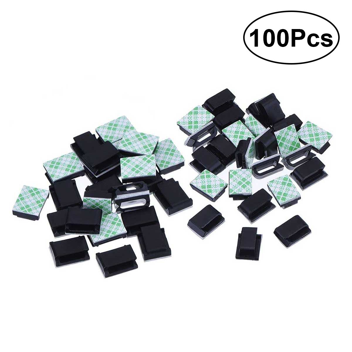 OUNONA 100PCS Adhesive Cable Mount Cable Ties Holder for Car Office and Home