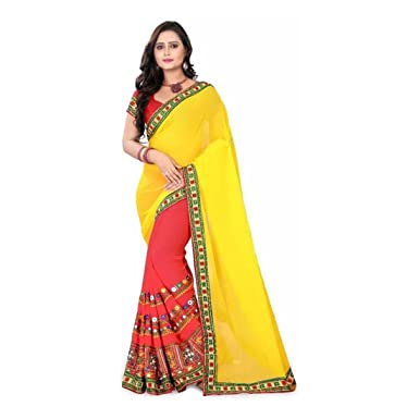 01efc20f6d2 Amazon.com  Embroidered Fashion Georgette Saree (Yellow
