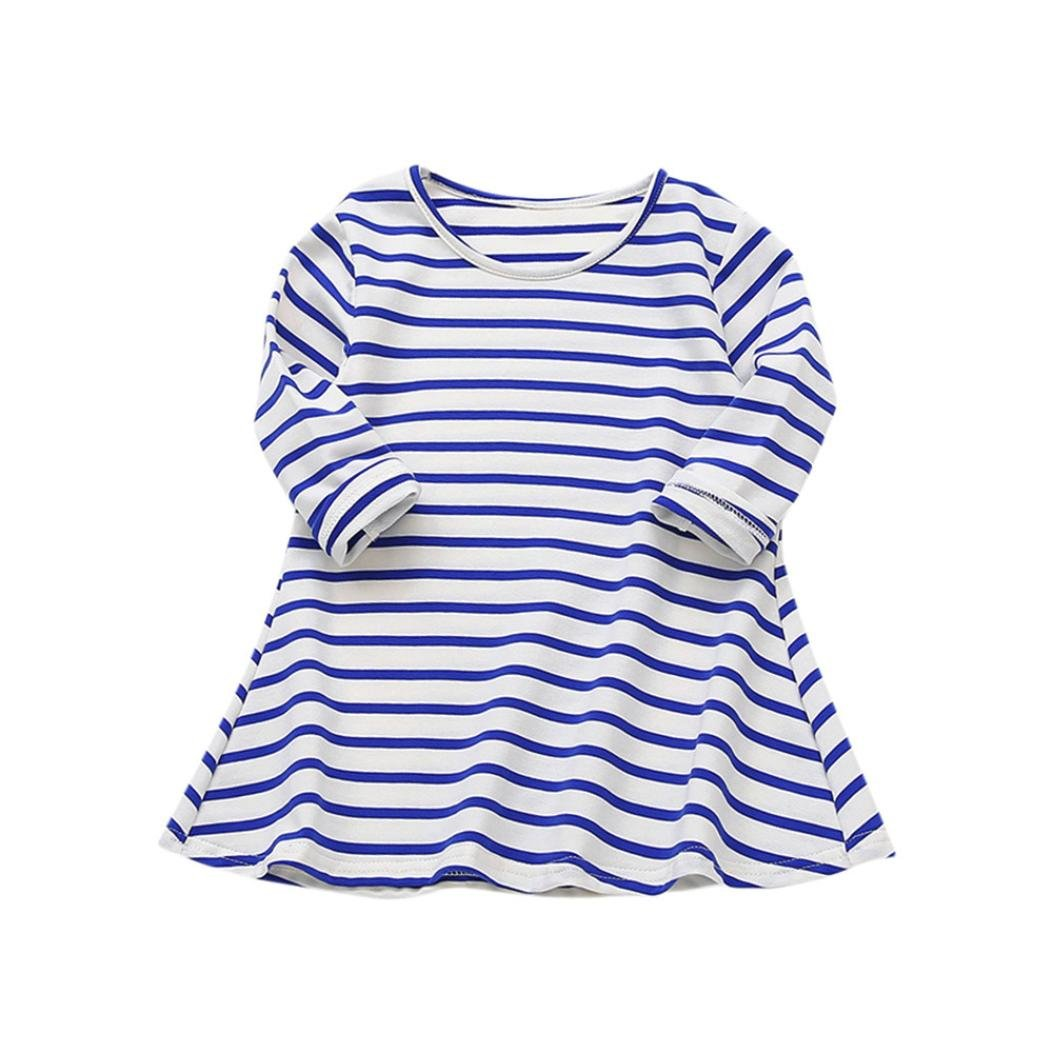 Wesracia Baby Girls Clothes, Long Sleeve Striped Print Dress Casual Toddler Dress (Blue, 90)