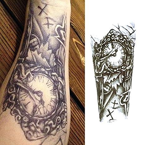 Oottati Tatuajes Temporales Muslo Brazo Reloj Mecánico Cruz (2 hojas)