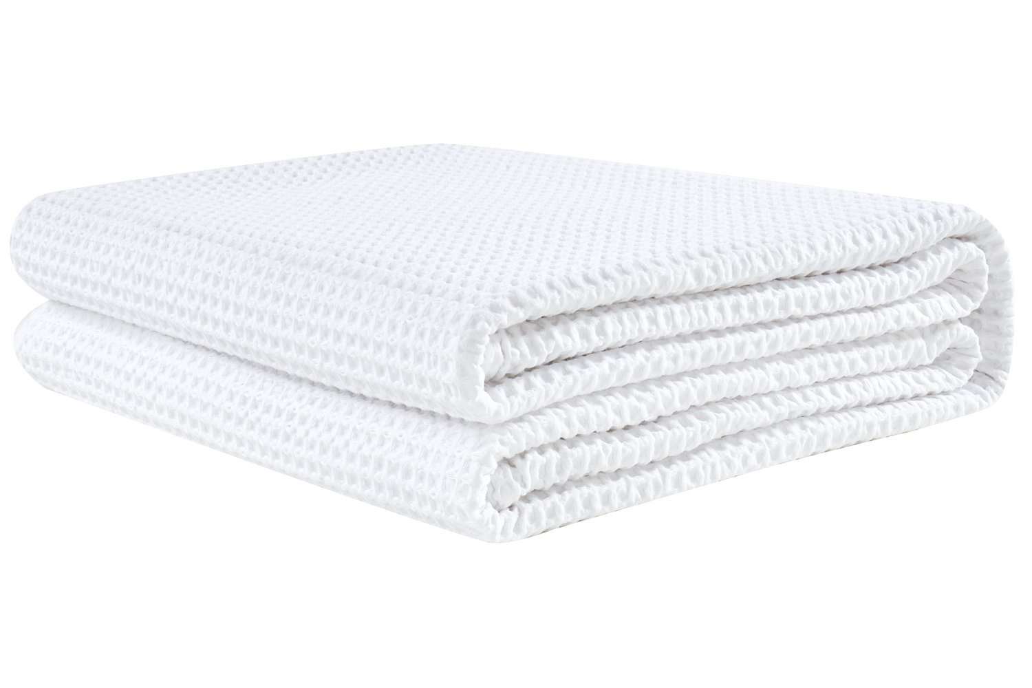 PHF Waffle Weave Blanket 100% Cotton Twin Size White
