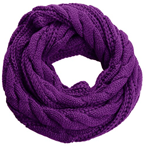 NEOSAN Womens Thick Ribbed Knit Winter Infinity Circle Loop Scarf Twist Purple from NEOSAN