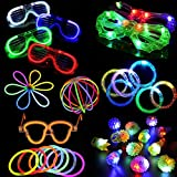74 Pieces LED Light Up Party Favor Toy Set-LED Party Pack With LED Accessories - 12 LED Flashing Bumpy Rings,6 LED Bubble Bracelets,6 LED Glasses And 50 LED Glowstick
