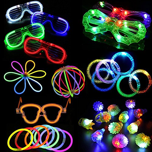 74 Pieces LED Light Up Party Favor Toy Set-LED Party Pack With LED Accessories - 12 LED Flashing Bumpy Rings,6 LED Bubble Bracelets,6 LED Glasses And 50 LED Glowstick by TOPPER SHOW