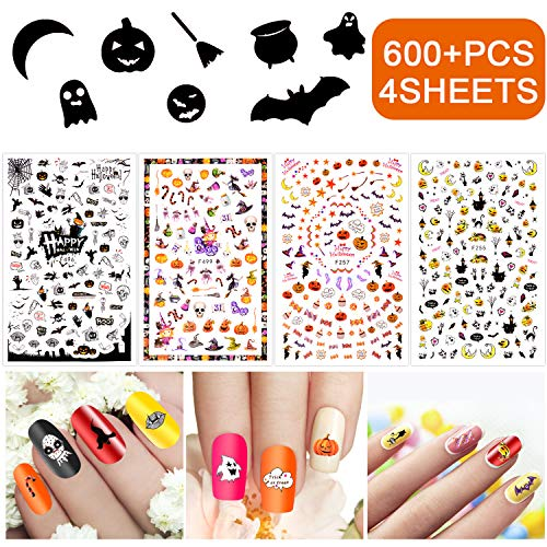 INFILILA Halloween Nail Art Stickers Set 600PCS(4Sheets) Nail Art Tattoo Decals Self-Adhesive DIY Stickers For Nails,Phone,Body,Home.