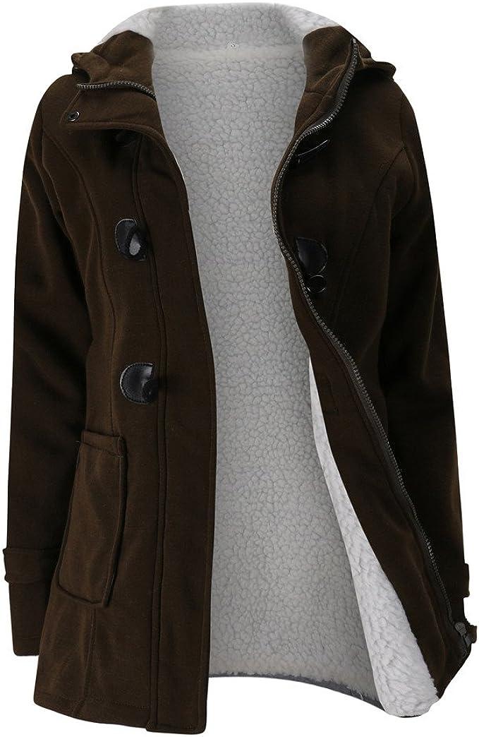FRAUIT Winterjacke Damen Wollmantel Hoodie Mantel Jacke Lange Windjacke Kleidung Damen Mode Elegant Wunderschön Multifunktional Warm Bequem