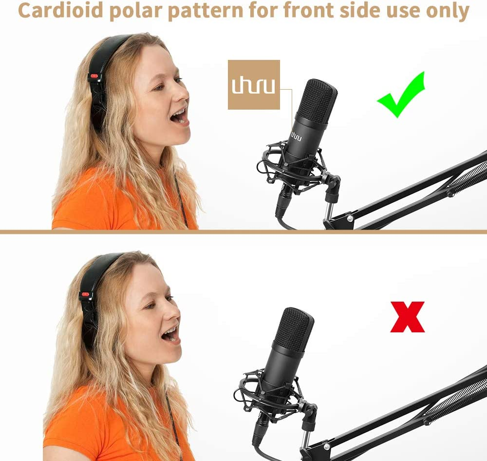 XLR Condenser Microphone, UHURU Professional Studio Cardioid Microphone Kit with Boom Arm, Shock Mount, Pop Filter, Windscreen and XLR Cable, for Broadcasting,Recording,Chatting and YouTube(XM-900): Home Audio & Theater