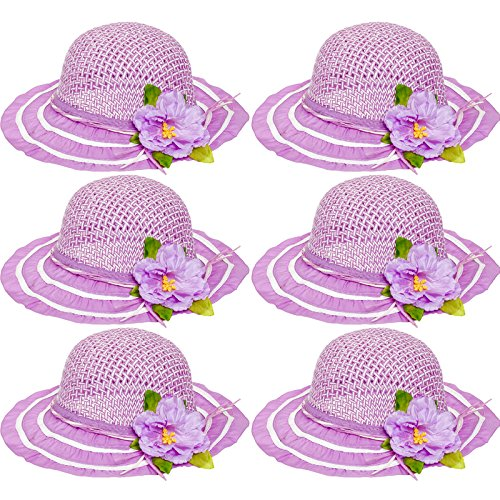 - 6 Pack Cutie Collections Girls Tea Party Flower Costume Sun Hats (Purple)