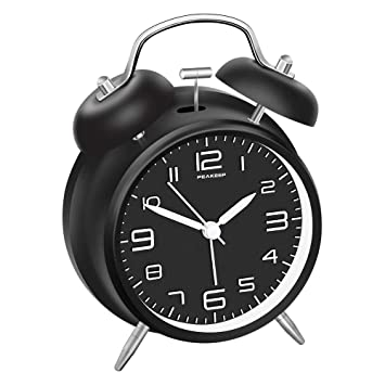 Amazon.com: Reloj despertador de campana doble Peakeep, de 4 ...