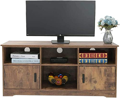 usikey Wooden TV Stand with 4 Storage Shelves 2 Cabinet, TV Console Cabinet, Retro Entertainment Center for Flat Screen TV Cable Box Gaming Consoles for Living Room, Office, Bedroom