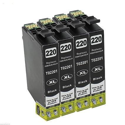 tyjtyrjty Pack de 4 unidades negro Epson 220 x l 220 ...