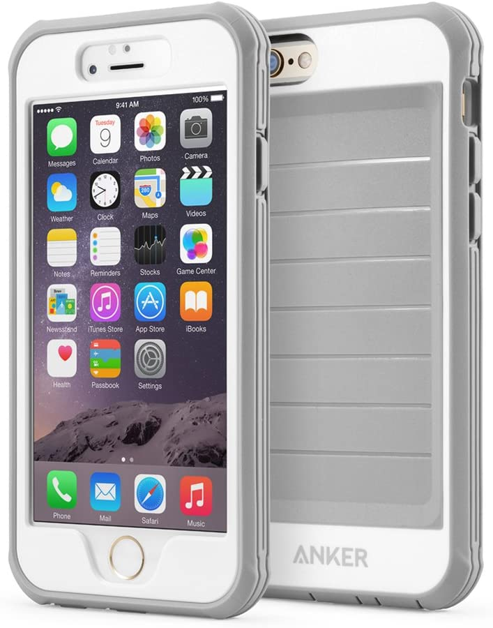 Anker iPhone 6s Plus Case, Ultra Protective Case with Built-in Clear Screen Protector for iPhone 6 Plus/iPhone 6s Plus (5.5 inch) (Gray/White)