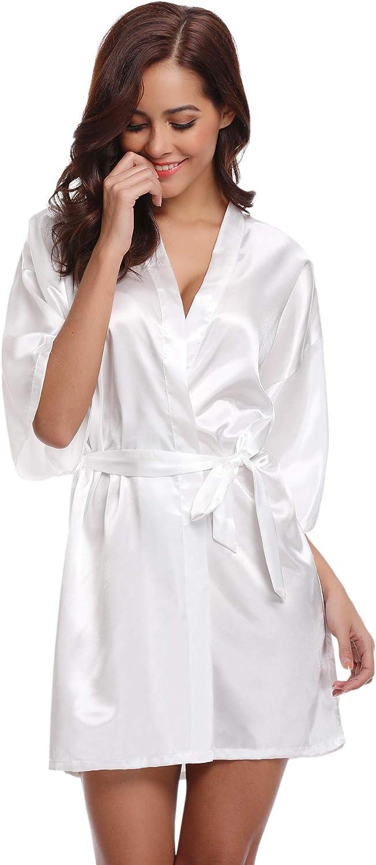 Scollo V Elegante Vestaglia Corta in Raso Camicia da Notte con Cintura Aibrou Donna Pigiama Kimono