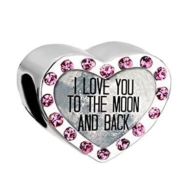 009453031 Sale Heart I Love You To The Moon And Back Pink Birthstone Charms Beads fit  Pandora Chamilia Bracelet: Amazon.co.uk: Jewellery