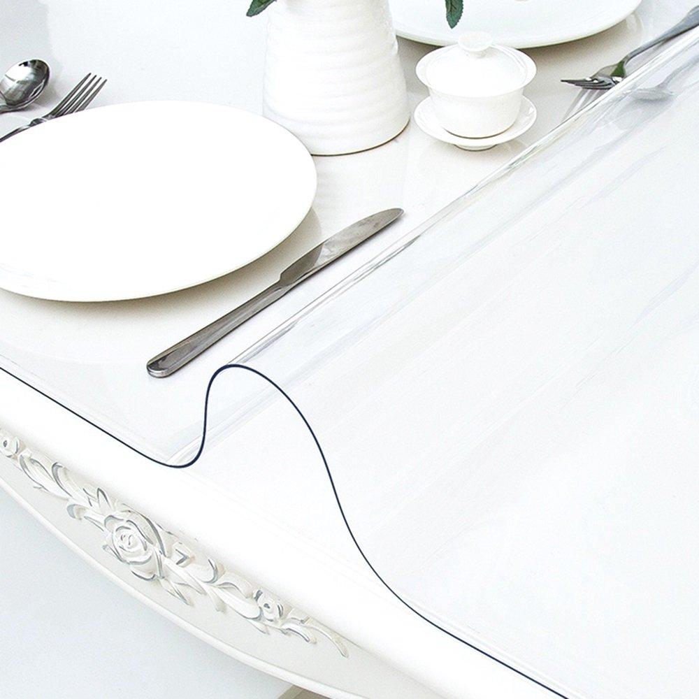Tablecloth Transparente PVC-Tischdecke einfach zu reinigen Wasserfeste und ölBesteändige Kunststoff-Tisch-Matte Tee-Tisch-Matte Dicke 1,0 mm (größe   90  140cm) B07CB89D5Z Tischdecken Neueste Technologie    Günstig