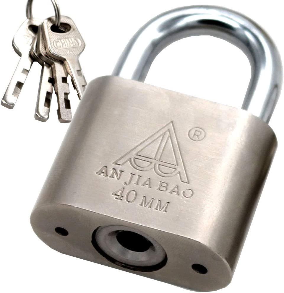 1.5-inch Wide Padlock,Chrome Steel Body Keyed Different Padlock 1-inch Shackle
