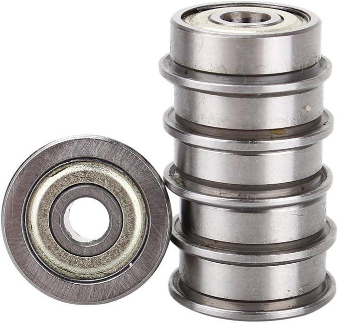 10PCS//lote Rodamientos de bolas F624ZZ Rodamiento de bolas con brida blindado de metal Ranura profunda en miniatura Accesorios para impresoras 3d con rodamientos de brida