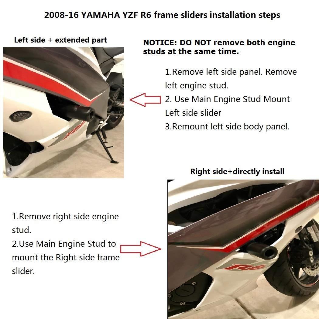 Amazon.com: Radracing YZF R6 Frame Sliders Crash Protectors Kit for ...
