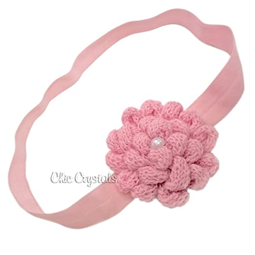 Amazon Hand Knitted Flower Headband With Pearl For Baby Girls