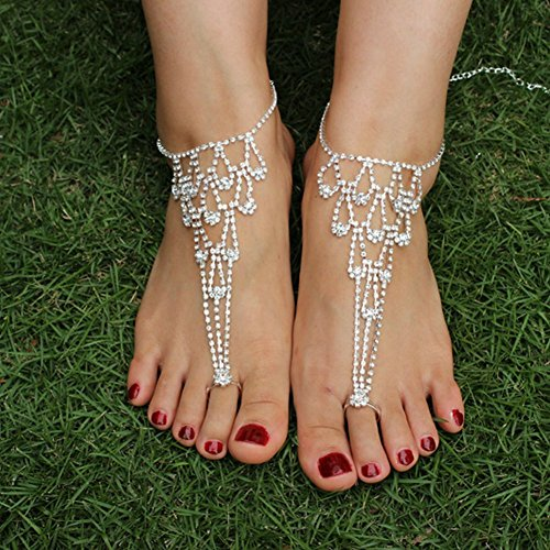 IFY 2 Pieces Rhinestone Anklets Jewelry Barefoot Sandals Bridemaids Beach Wedding Jewelry Feet (Bare Sandal)