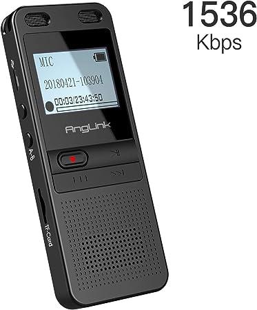 comprar Grabadora de Voz Digital, Anglink 1536KBPS Grabador de Voz Digital de Reducción de Ruido Activa de 8GB con Expansión de Tarjeta TF MP3 Altavoz Para la Entrevista de la Oficina Escolar