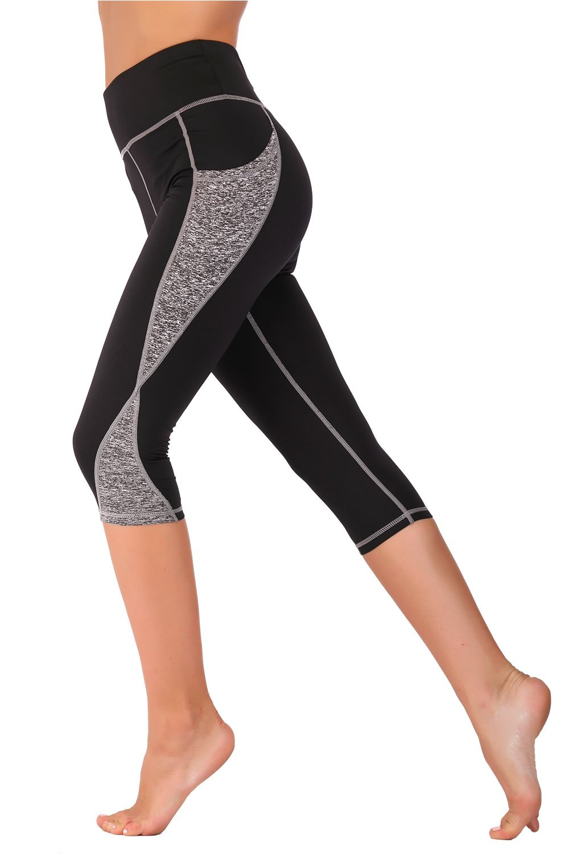 IMIDO Women's Yoga Capri Pants Sport Tights Workout Running Mesh Leggings with Side Pocket (Grey Capri Pants, L)
