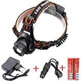 2000 Lumen CREE XM-L T6 LED Kopflampe Scheinwerfer Taschenlampe Stirnlampe Licht Taschenlampe wiederaufladbare Camping Scheinwerfer (2 x 4200mAh Batterie 18650 + Charger + Car Charger)