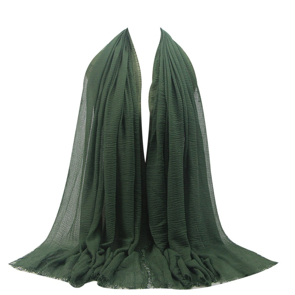 Muslim cotton scarf,Wociaosmd Muslim Women Solid Color Long Scarves Soft Shawl Wraps(Green,A)