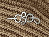 Celtic silver hair clip Spiral Silver Scarf Pin Shawl Pin Hair Stick Sweater Brooch Women gift.