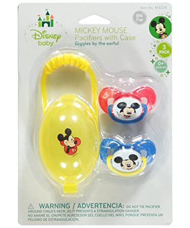 Amazon.com : Mickey Mouse Giggles 2-Pack Pacifiers with Case ...