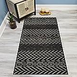 #3: Your Choice Length Black & Grey Traditional Kilim Non-Slip Rubber Backed Carpet Runner Rug | 22-inch x 6-feet