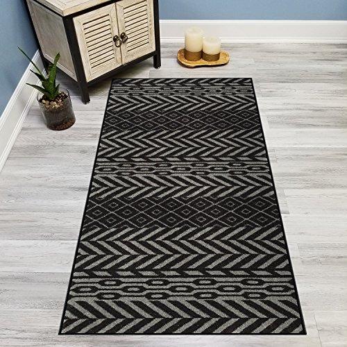 Your Choice Length Black & Grey Traditional Kilim Non-Slip Rubber Backed Carpet Runner Rug | 31-inch x 10-feet (Black Vintage Hardwood Flooring)