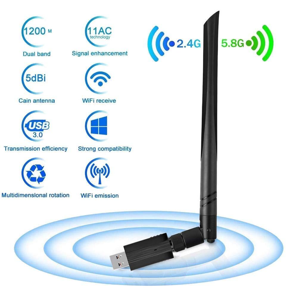 Little Fairy Fang Alian WiFi Extender, Biback Clé USB WiFi Adaptateur USB 3.0 Antenne Dual Band Carte WiFi WLAN 1200Mbps Récepteur WiFi 5G / 2.4G.