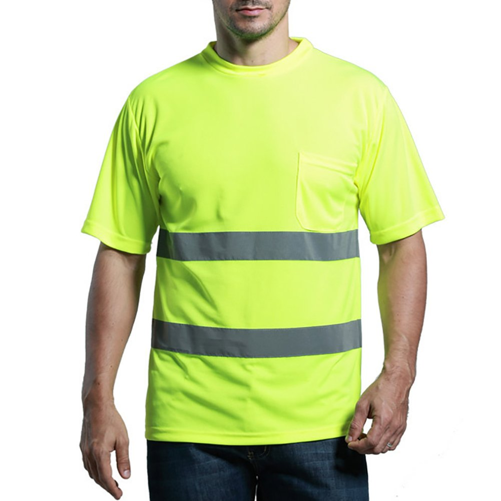 GOGO Hi Vis T Shirt Reflective Safety Lime Short Sleeve with Pocket RFSV-AS80654_NEONYELLOW-XL