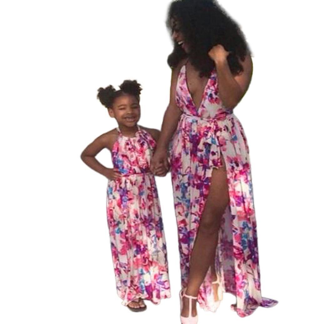 BBsmile Vestido sin mangas con estampado floral y estampado floral de Mom & Me Girls Family Clothes: Amazon.es: Ropa y accesorios